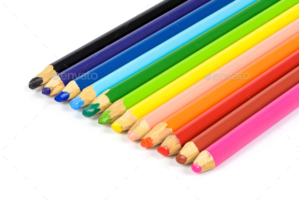 Set of colorful pencils on white background - Stock Photo - Images