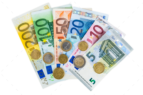 Set of euro banknotes and coins - Stock Photo - Images