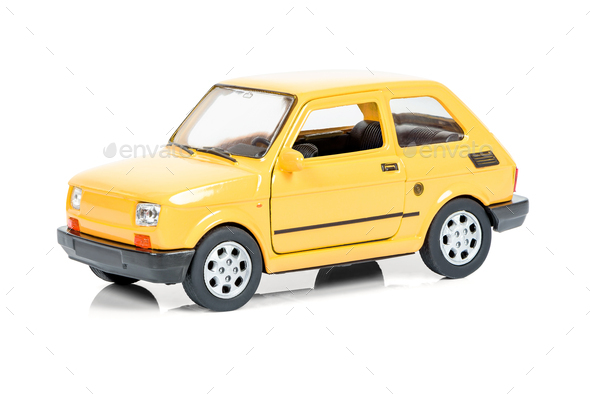 Vintage toy car on white background - Stock Photo - Images