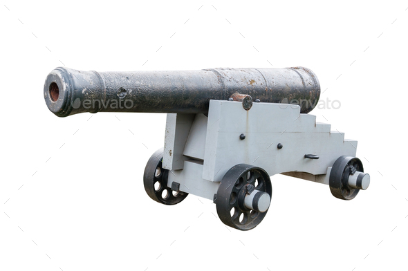 Old cannon isolated on white background - Stock Photo - Images