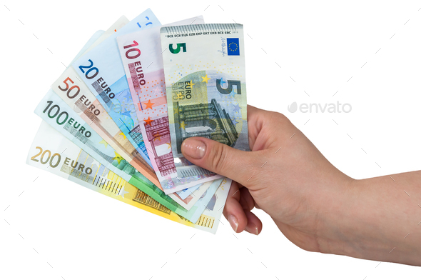 Hand holding euro banknotes - Stock Photo - Images