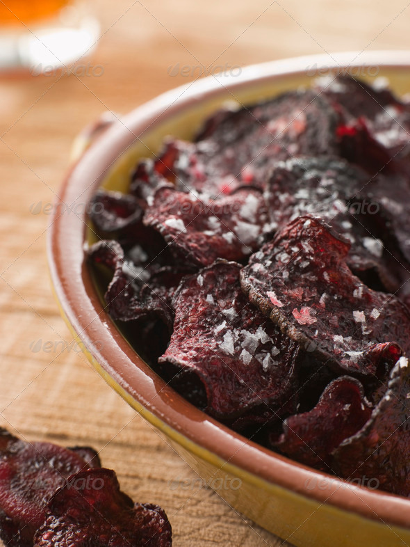Beetroot Crisps with Sea Salt - Stock Photo - Images