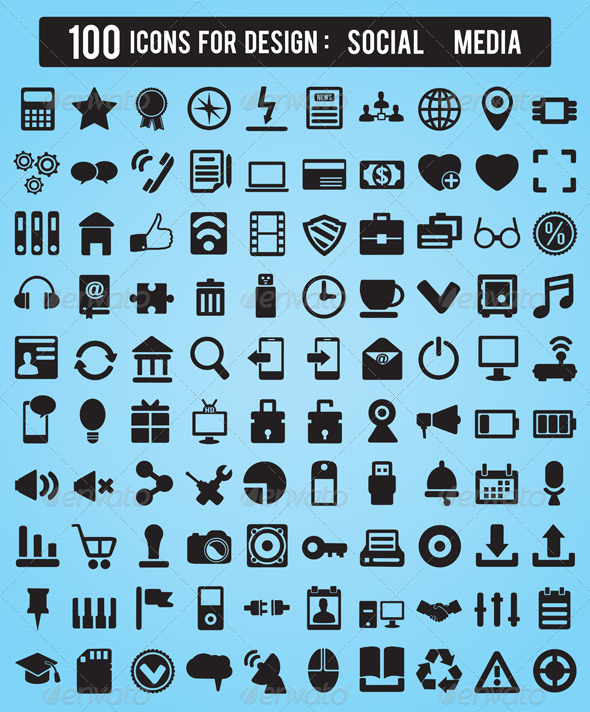 100 Icons For Web and Design Elements  - Technology Conceptual