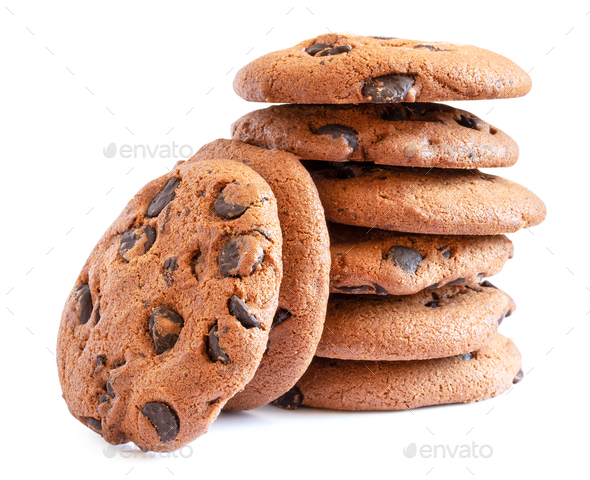 Stack of oatmeal cookies with chocolate - Stock Photo - Images
