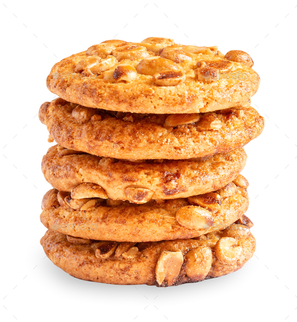 Stack of oatmeal cookies with nuts - Stock Photo - Images
