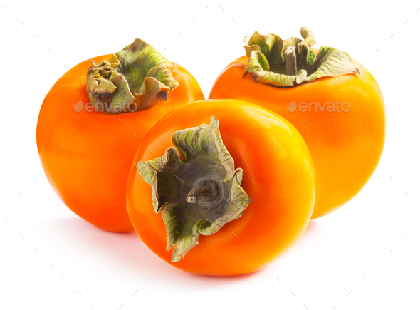 Three ripe persimmons isolated on white background - Stock Photo - Images