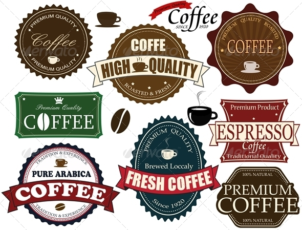 Set coffee labels and elements - Food Objects
