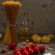 Pasta and food ingredient on wooden table background. Raw pasta assortment of italian food - PhotoDune Item for Sale
