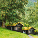Traditional Norwegian Old Wooden Houses With Growing Grass On Roof. Cabins In Norway - PhotoDune Item for Sale