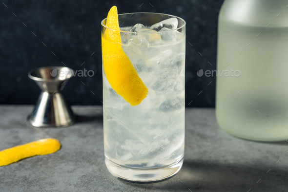 Boozy Refreshing Shochu Lemon Highball - Stock Photo - Images