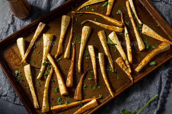 Healthy Homemade Roasted Parsnips - Stock Photo - Images
