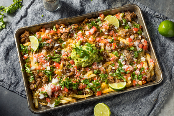 Healthy Homemade Carnitas French Fry Nachos - Stock Photo - Images