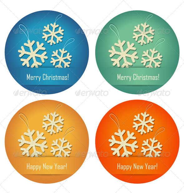 Christmas Bubbles With Crumpled Paper Snowflakes - Christmas Seasons/Holidays