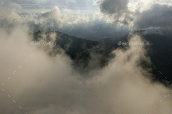 The village was in fog - Stock Photo - Images