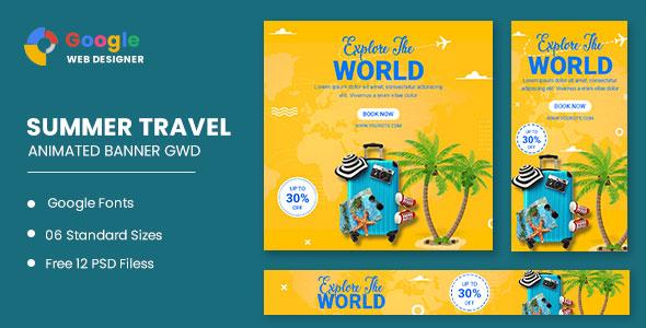 Traving World Animated Banner Google Web Designer