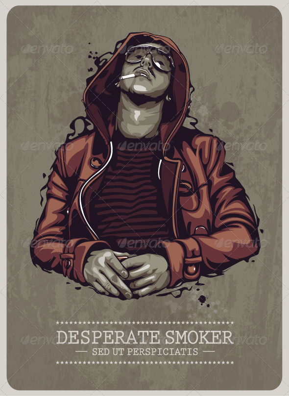 Smoker Grunge Image - People Characters