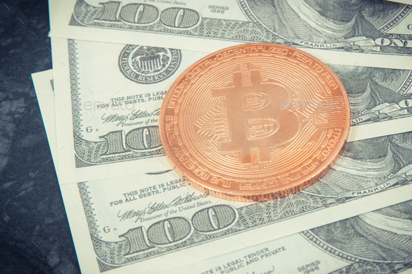 Dollar and bitcoin as cryptocurrency and new virtual money, international network payment concept - Stock Photo - Images