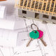 Home keys, house under construction and electrical diagrams for engineer jobs, building home concept - PhotoDune Item for Sale
