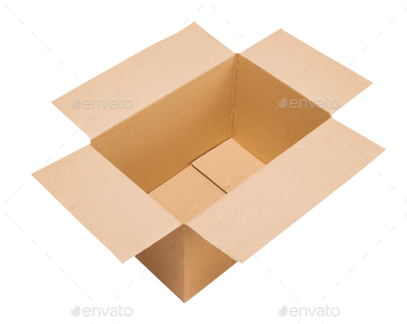Open cardboard box on white background isolate - Stock Photo - Images