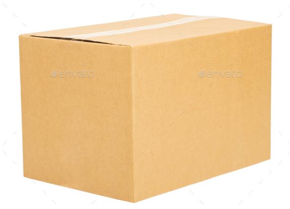 Closed cardboard box on white background isolate - Stock Photo - Images