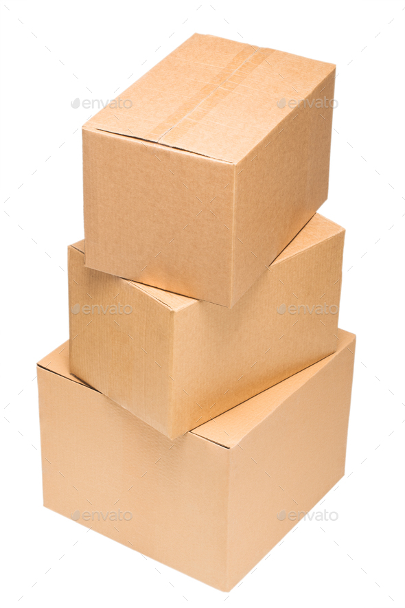 Cardboard boxes on white background isolate - Stock Photo - Images