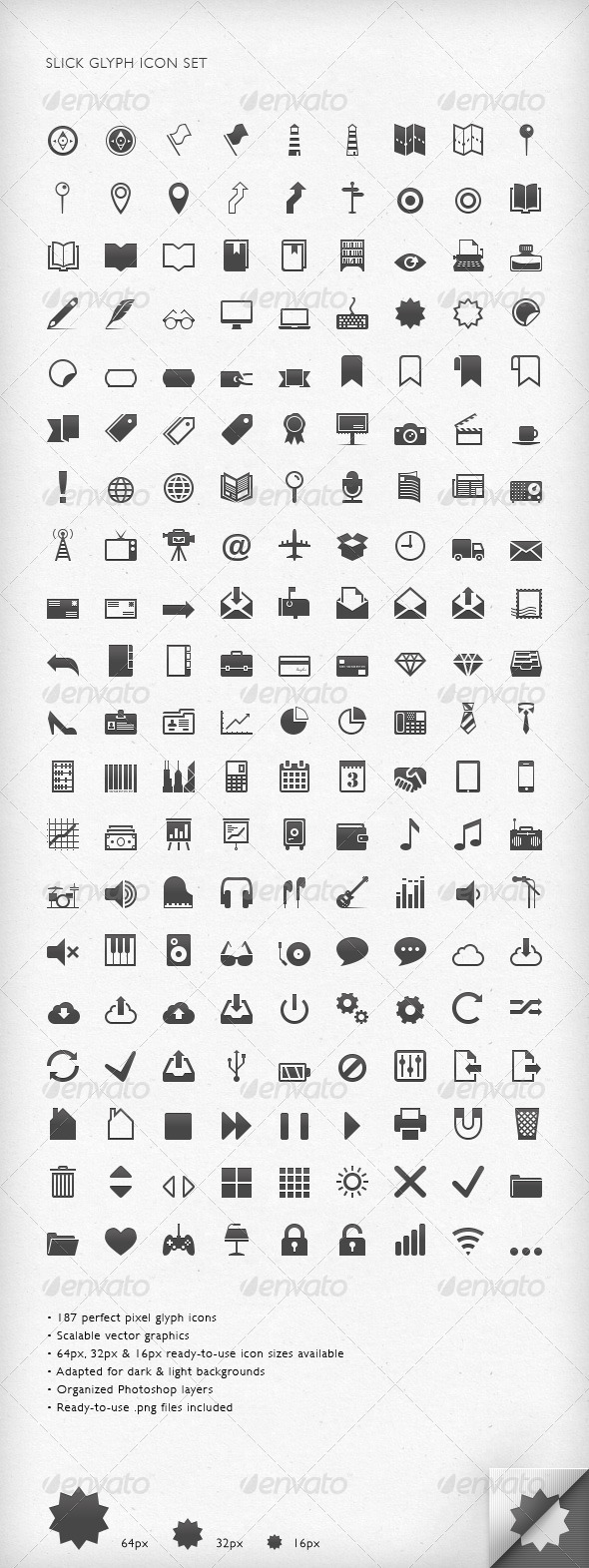Slick Glyph Icon Set - Web Icons