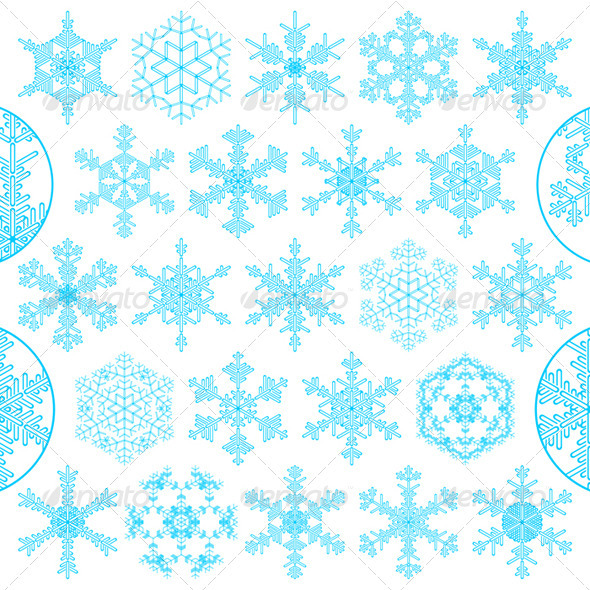 Set of decorative snowflakes - Christmas Seasons/Holidays