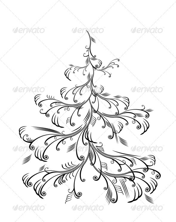 Vector christmas tree, isolated - Christmas Seasons/Holidays