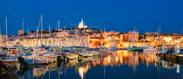 Marseille Old Port in the night. Marseille, France - Stock Photo - Images
