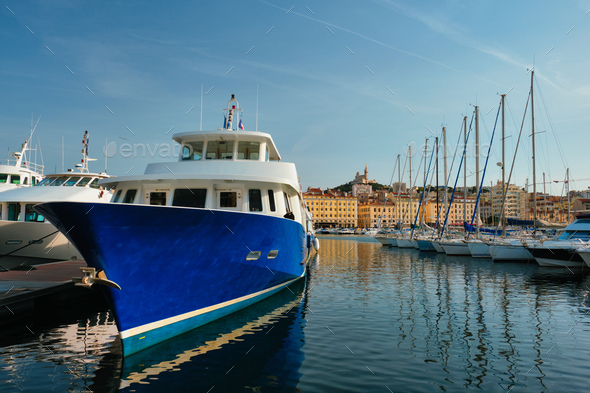Marseille Old Port with yachts. Marseille, France - Stock Photo - Images