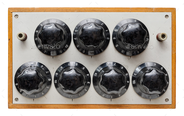 Very old control panel with adjustment knobs - Stock Photo - Images
