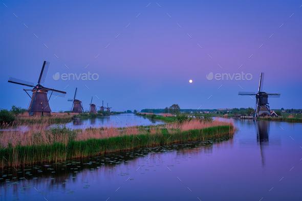 Windmills at Kinderdijk in Holland. Netherlands - Stock Photo - Images