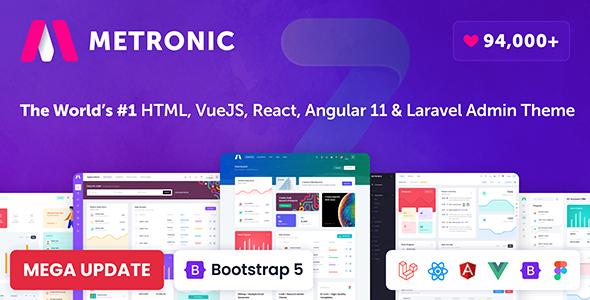 Marvelous Metronic - Bootstrap 4/5 HTML, VueJS, React, Angular 11 & Laravel Admin Dashboard Theme