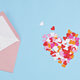 Hearts confetti and pink envelope. Love, valentine day, mothers day greeting card, gratitude - PhotoDune Item for Sale