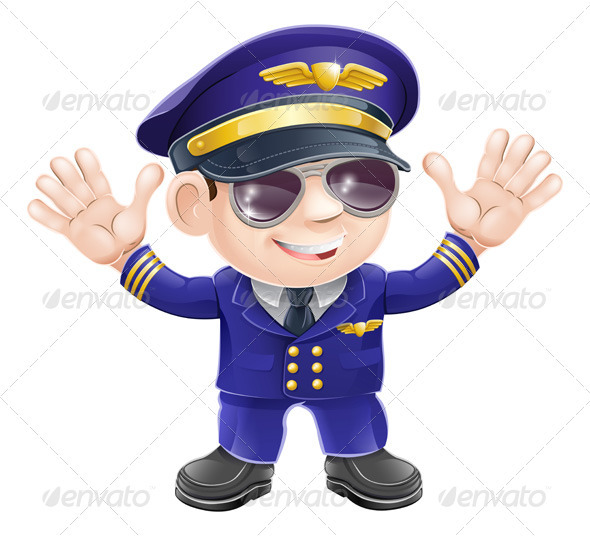 Cartoon airplane pilot  - Characters Vectors