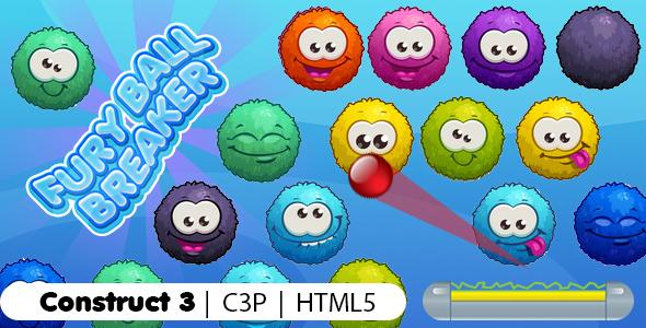 Furry Balls Breaker Game (Construct 3 | C3P | HTML5) Bricks Breaker Game
