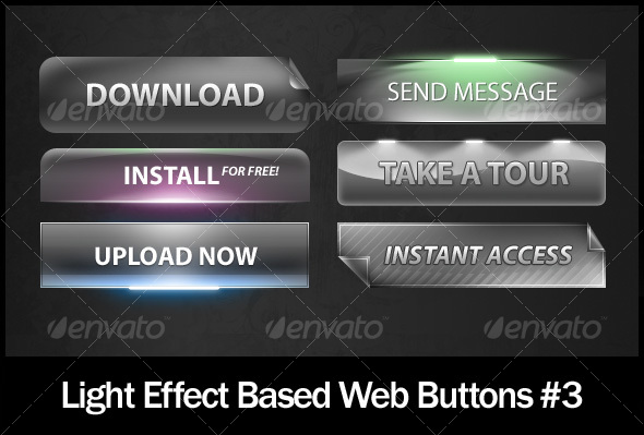 Light Effect Based Web Buttons #3 - Buttons Web Elements