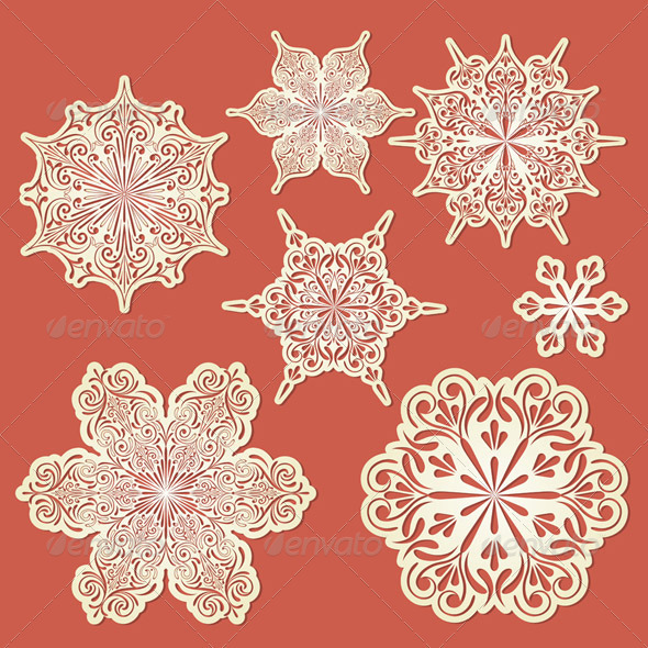 Vector Paper Cut Golden Snowflakes - Seasons Nature