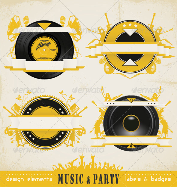 Vintage Music Labels and Badges - Retro Technology