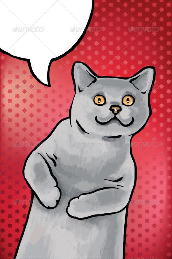 Cheerful British Short Hair Cat - Animals Characters