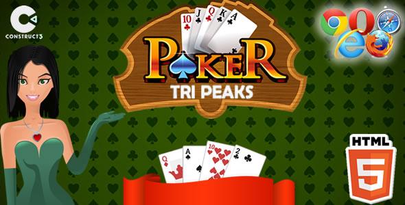 Tri Peaks Poker HTML5 Game - Construct 3 (.c3p)