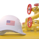 Oil and gas industrial of USA. United States flag on a hard hat with gas valve tubes. - PhotoDune Item for Sale
