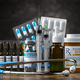 Healthcare and medicine concept background. Medication, pills, blisters, vaccine - PhotoDune Item for Sale