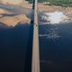 Aerial view of bridge over river in sunset light - PhotoDune Item for Sale