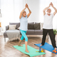 Elderly couple doing fitness at home - PhotoDune Item for Sale
