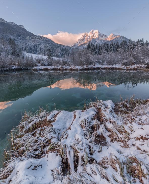 Beautiful sunrise winter - Stock Photo - Images
