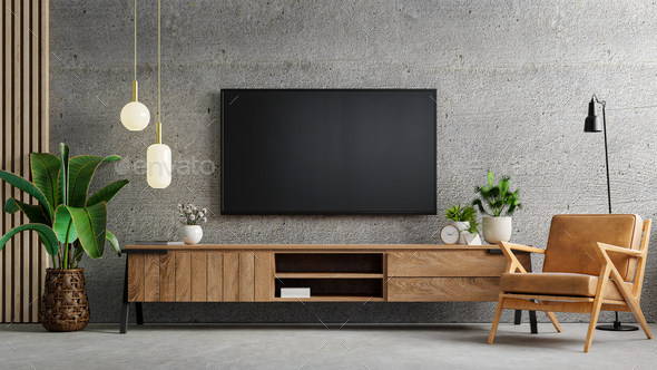 Living room interior have tv cabinet and leather armchair in cement room. - Stock Photo - Images
