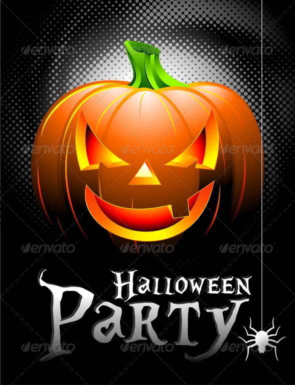 Vector Halloween Party Poster Background with Pumpkin. - Halloween Seasons/Holidays