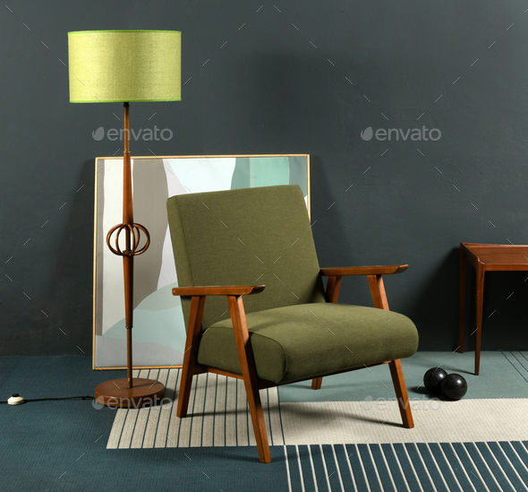 Vintage furniture against gray wall - Stock Photo - Images