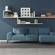 Blue modern living room with shelves,books and decor objects - PhotoDune Item for Sale